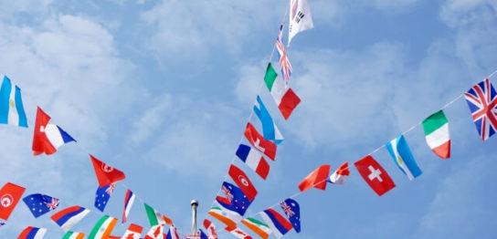 運動会の国旗の写真